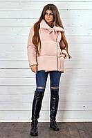 Стильная демисезонная женская куртка с завязками пудра 42-44 46-48, фото 1
