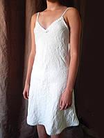 Льняная ночная сорочка, домашняя рубашечка из льна с рюшами , кружевом. Легкий полированный белорусский лен, фото 1