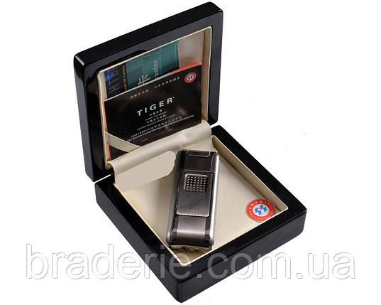 Зажигалка подарочная Tiger 0521 в деревянной коробочке, фото 2