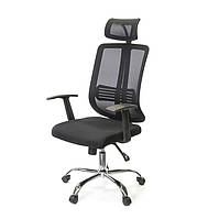 Кресло офисное на колесиках Сити CH SR черного цвета из ткани