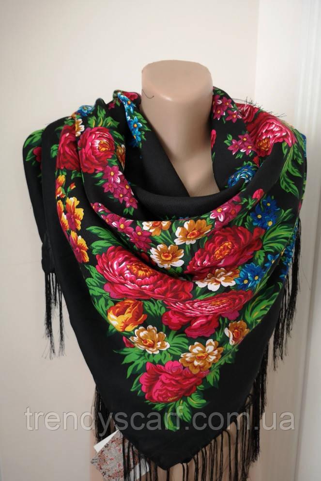 Женский Павлопосадский платок шерстяной Черный розовый зеленый  Цветы розы с шелковой бахрамой 120\120