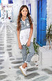 Короткий полосатый жакет для девочки тм Моне р-р 146, фото 2