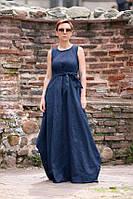 Шикарное, невозможно длинное платье из льна ярких цветов , подчеркивающее нужное и скрывающее нужное , фото 1