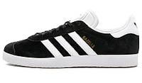 Мужские кроссовки Adidas Gazelle Black White (адидас газели, черные)
