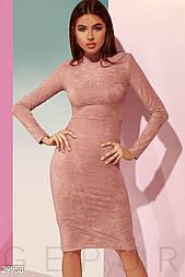 Облегающее замшевое платье пудровое с воротником стойка