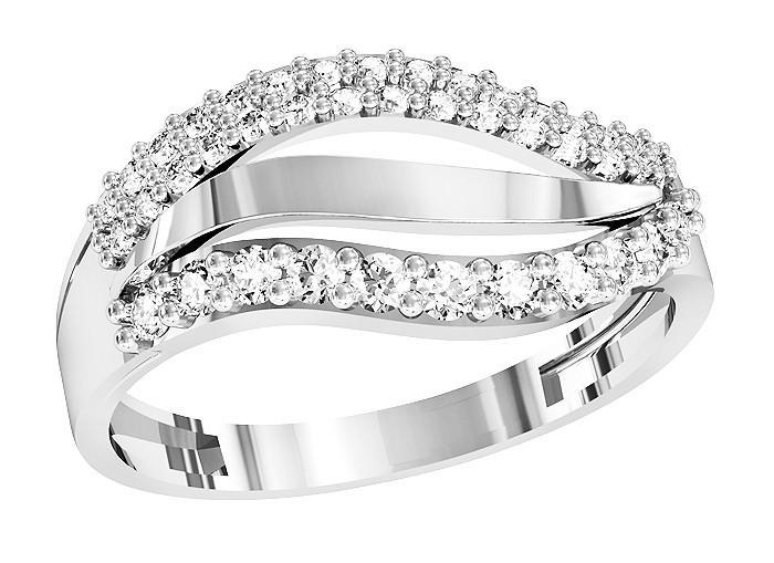 Кольцо  женское серебряное Бриллиантовые полосы 111 780