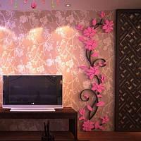 """Акриловая 3D наклейка """"Liana"""" светло-розовый ( 300х1000 мм)"""
