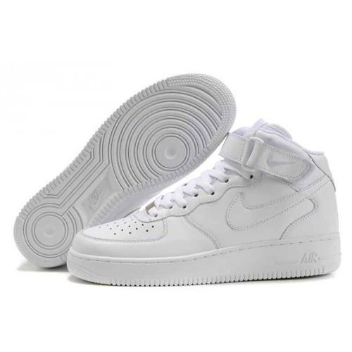 0112cbc8 Мужские баскетбольные кроссовки Nike Air Force 1 MID высокие белые -  SHOES-INTIME в Харькове