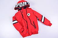Куртка для мальчика из плащевки (цв.красный) с отстегивающимися рукавами Роста в наличии : 116,122,128,134 арт