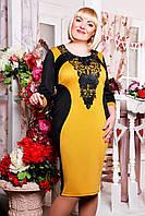 Платье Джулия (черный+горчица)