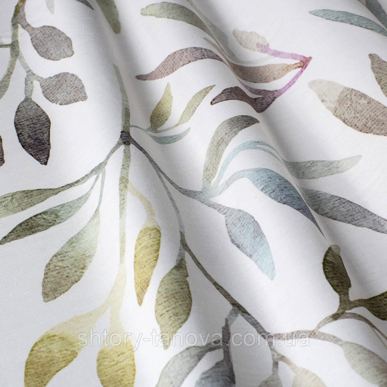 Декоративная ткань с листьями растений голубого и зеленого цвета для чехлов на диванные подушки