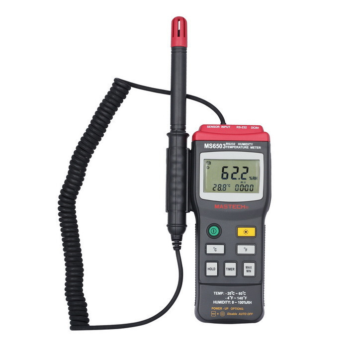 Цифровой термо-гигрометр Mastech MS6505 (Temp: от -20 °C до +60 °C; RH: 0-100%) с выносным датчиком, ПО
