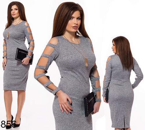 Женское платье трикотаж с люрексом (серый) 826856