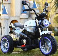 Детский Мотоцикл BMW на аккумуляторе белый (синий, красный), кожаное сидение,свет/звук, USB, MP3, M3687AL-1