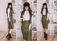 Стильный кожаный костюм двойка жилет и юбка под пояс с разрезом 42-44, 44-46
