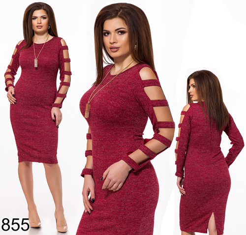 Блестящее платье с открытыми рукавами (бордовый) 826855