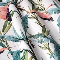 Декоративная ткань с голубыми растениями и розовыми фламинго на белом для подушек на диван