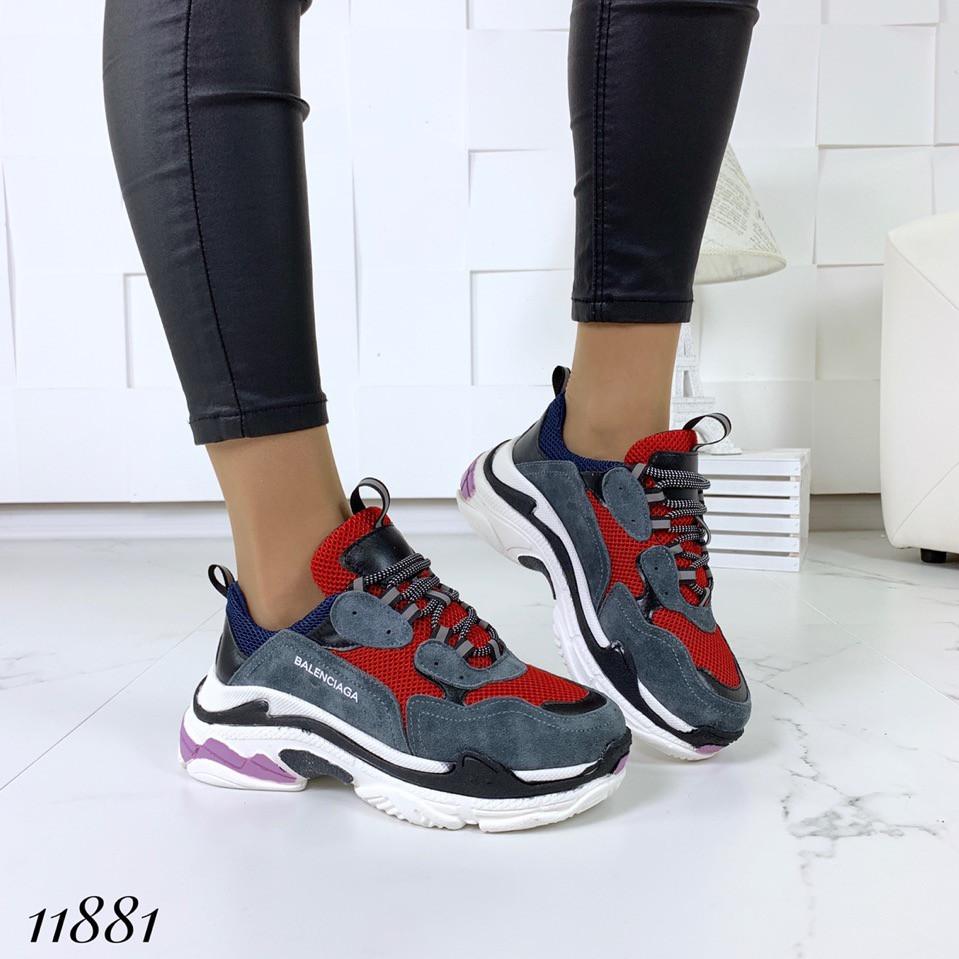 Кросівки жіночі замша + шкіра на високій підошві