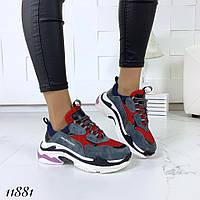 Кросівки жіночі замша + шкіра на високій підошві, фото 1