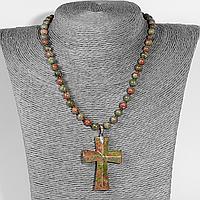 Унакит яшма, серебро, крестик, 958КЛУ