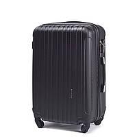 Средний пластиковый чемодан Wings 2011 на 4 колесах черный, фото 1