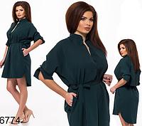 Летнее платье с поясом для полных (бутылка) 826774