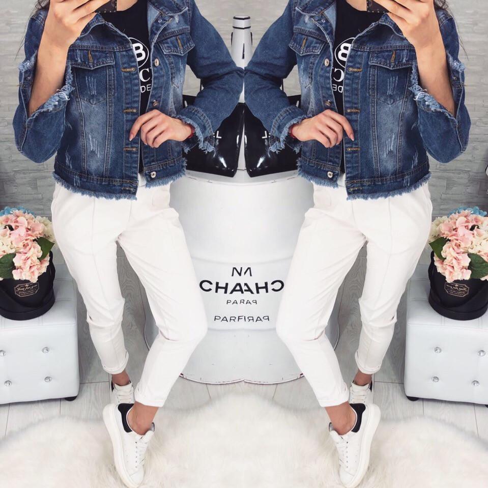 Женский джинсовый пиджак с бахромой 529