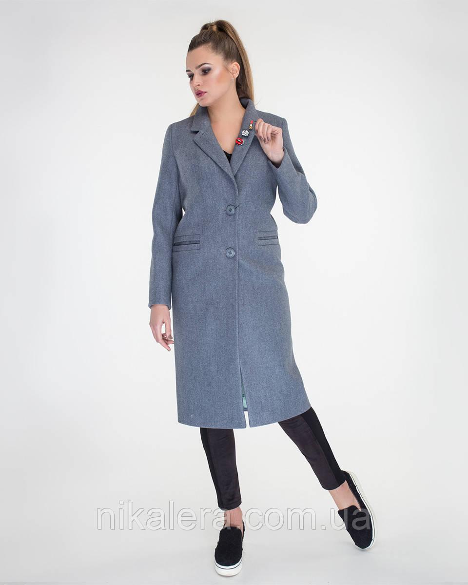 Пальто  классического кроя с брошками рр 42-50