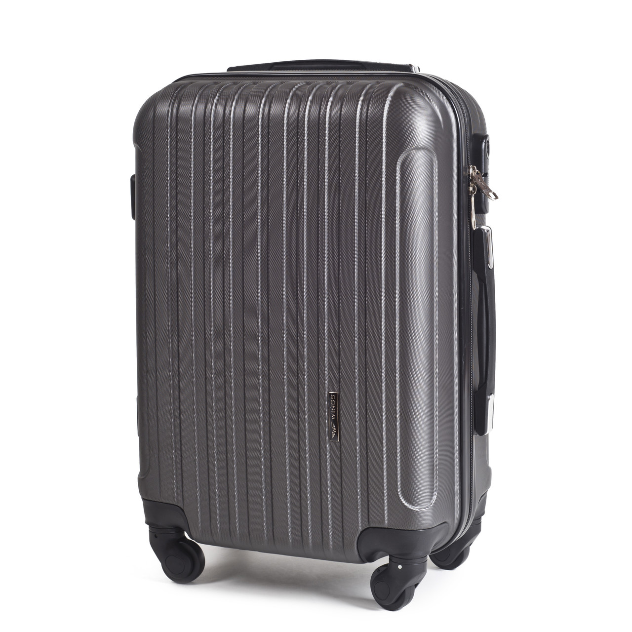 Малый пластиковый чемодан Wings 2011 на 4 колесах серый