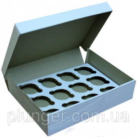 Коробка для капкейков белая на 12 капкейков, микрогофрокартон