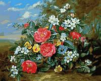 Раскраска АнтиСтрес по номерам Пионы и белые цветы