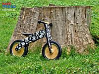 """Беговел 12"""" Kiddi Moto Kurve деревянный, чёрный с черепами"""