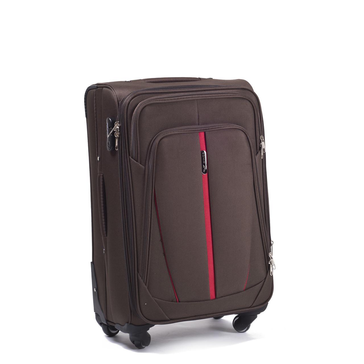 Большой тканевый чемодан Wings 1706 на 4 колесах коричневый
