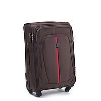 Большой тканевый чемодан Wings 1706 на 4 колесах коричневый, фото 1