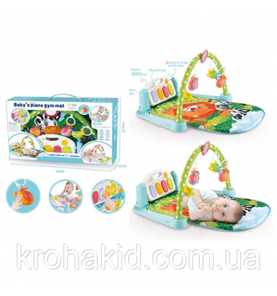 Коврик для малыша с пианино и подвесками, со звуковыми эффектами, в коробке, 9912 N, фото 2