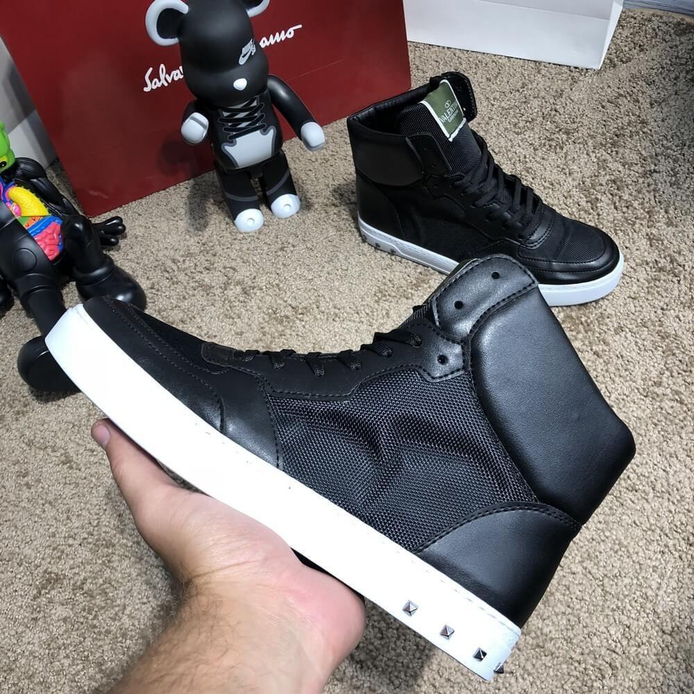 d1e74fad9ff Ботинки мужские Valentino Flycrew High Sneakers Black White