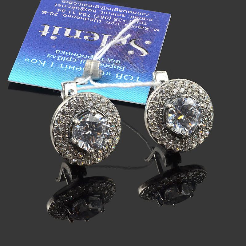 Серебряные круглые серьги с фианитами