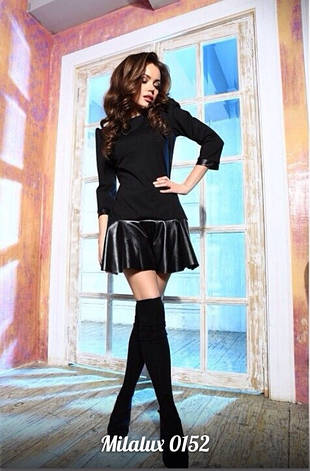 Платье трикотаж юбка из эко-кожи, фото 2