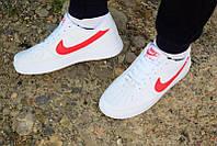 Стилльные кроссовки мужские Nike air force белые с красными вставками, супер качество!