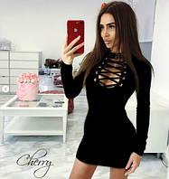 Женское трикотажное платье с люверсами,чёрный, персик, серый42-46