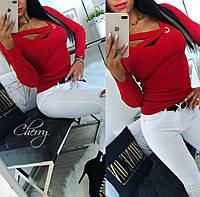 Женская кофта с люверсом, рр 42-46,чёрный, красный
