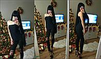 Женская кофта с открытым плечам и чокером,рр 42-44, масло черная