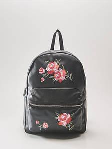 Рюкзак HOUSE - Кожаный чёрный с цветочной вышивкой (шкіряний чорний)