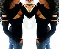 Женская кофта с разрезами,рр 42-44, масло чёрный