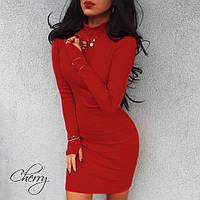 Женское платье-гольф с длинными рукавами и отверстием под палец , 42-46 чёрный, красный, марсала джерси