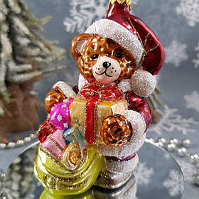 Стеклянная елочная игрушка Мишка с подарками Irena