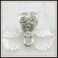 Бейл со стразами Капля (16*9 мм) св. серебро
