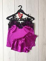 """Фиолетовая женская атласная сексуальная пижама с шортами и с кружевом """"Айна"""" - С, М"""