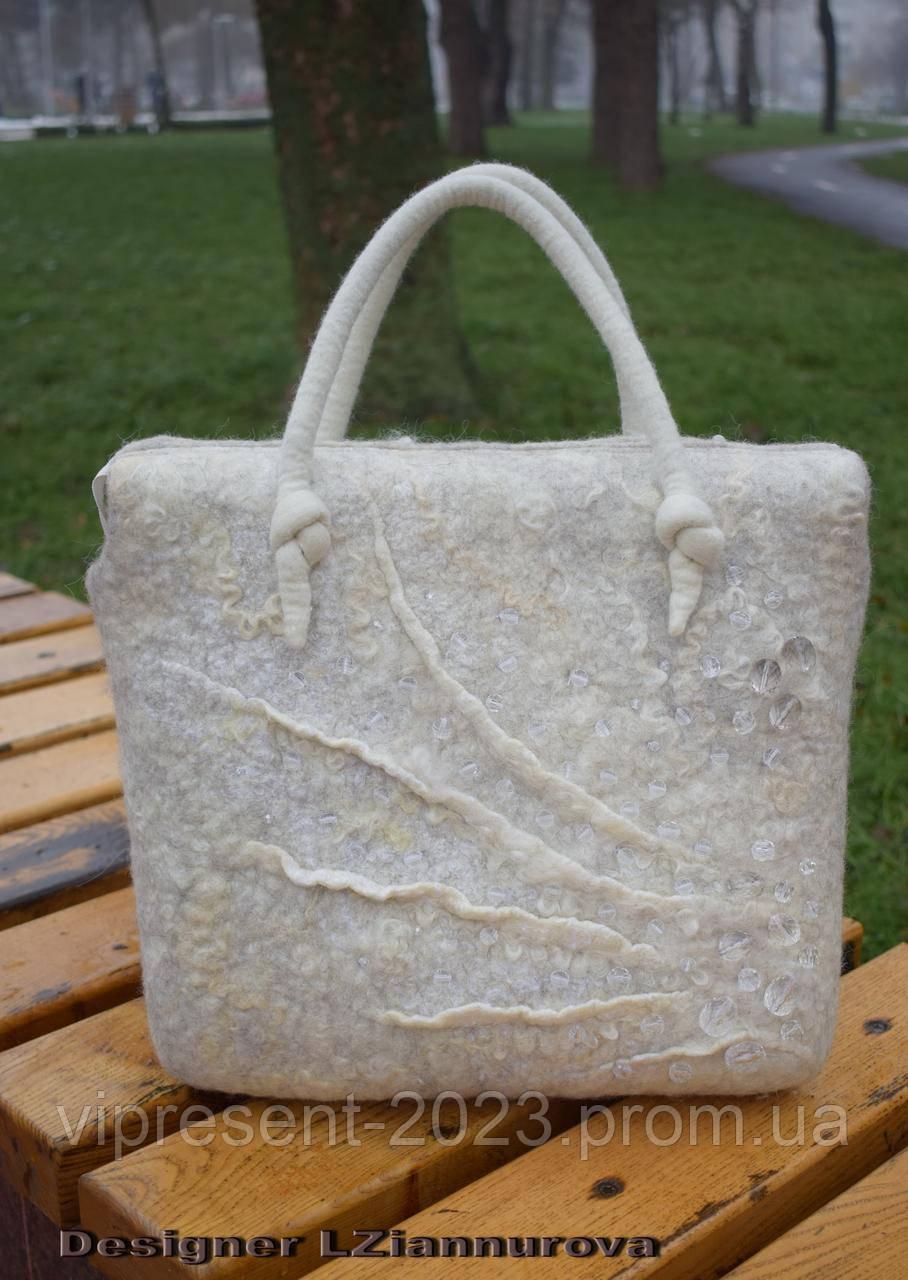 39603aed2d83 Сумка войлочная, белый - натуральный - Творческая мастерская LZiannurova в  Виннице
