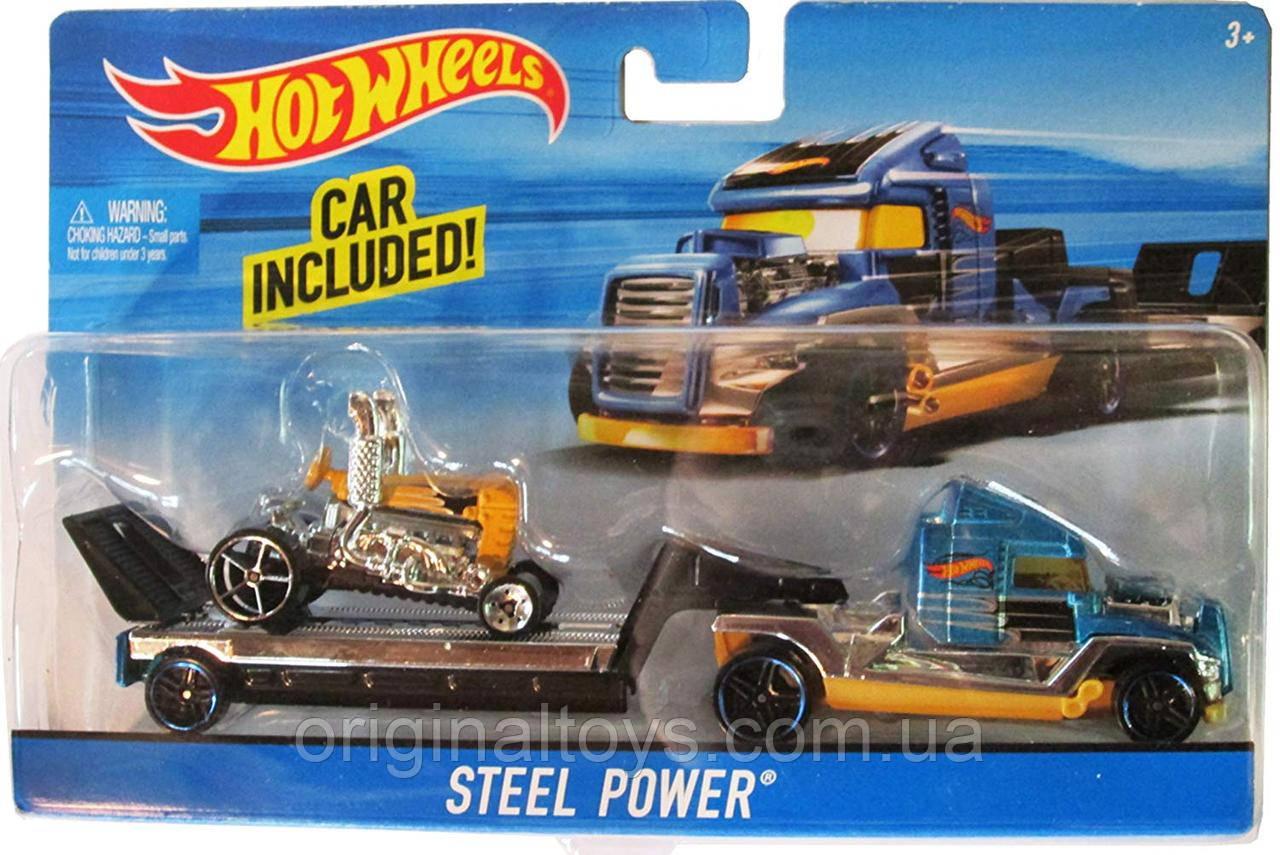 Вантажівка-трейлер Hot Wheels і машина Steel Power BDW51